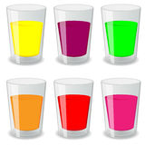 Set of fresh juices in a glass stock illustration