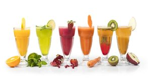 Set of Fresh Juices isolated on white, Clipping path included, Fresh Juices Royalty Free Stock Photo