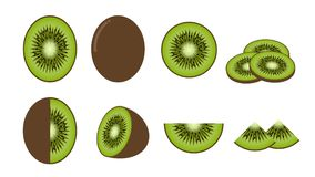Set of fresh kiwi fruit isolated on white background Stock Photo