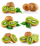 Set fresh kiwi fruits with green leaves royalty free stock photo