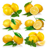 Set fresh lemon with green leaf mint Stock Photos