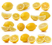 Set of fresh lemon slices  on white background Royalty Free Stock Photo