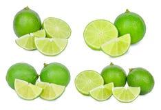 Set of fresh lime isolated on white background. Set of fresh lime isolated on white Stock Photography