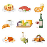Set of fresh morning food. European breakfast cartoon vector illustration. Stock Images