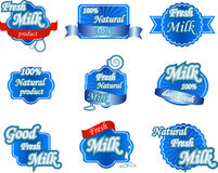 Set of fresh natural milk labels. Collection of fresh natural milk labels, other print material and packaging Royalty Free Stock Photo