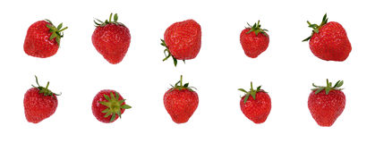 Set of fresh , natural red strawberries Royalty Free Stock Images