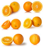 Set of fresh orange fruits isolated on white background Royalty Free Stock Image