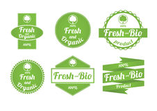 Set of fresh and organic labels Royalty Free Stock Photography