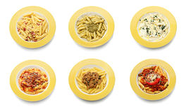 Set of fresh pasta meal  on white Royalty Free Stock Photos