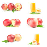 Set of fresh peaches fruits isolated on a white background cutout Royalty Free Stock Image