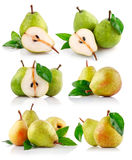 Set fresh pear fruits with green leaf Stock Image