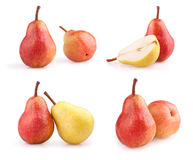Set of fresh pears isolated on white Royalty Free Stock Photo