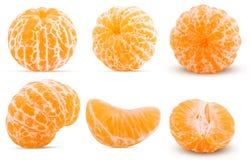 Set fresh peeled tangerine whole, half, one slice. Isolated on white background Clipping Path royalty free stock photo