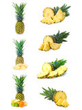 Set fresh pineapple fruits with cut isolated on white Royalty Free Stock Photography