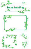 Set of fresh plant elements for design. Green frame, border and corners Stock Photo
