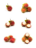 Set of fresh Rambutan from Rayong Thailand isolated on white bac. Kground, Sweet delicious fruit Royalty Free Stock Photos