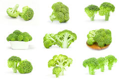 Set of fresh raw broccoli close-up isolated on white background. Collage of broccoli floret isolated on a white background cutout Royalty Free Stock Images