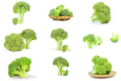 Set of fresh raw broccoli  on a white background cutout. Collage of broccoli cabbage close-up on white Stock Photos