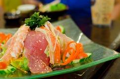 Set of fresh raw fishs , Sushi and Sashimi. Japanese style food Royalty Free Stock Photography