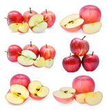 Set of fresh red gala apples with slice isolated on white backgr Royalty Free Stock Image