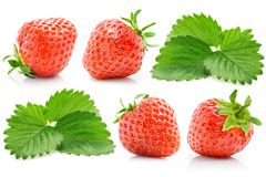 Set fresh red strawberry with green leaves stock photos