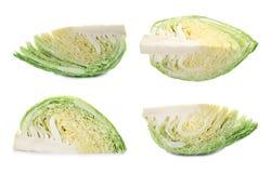 Set with fresh savoy cabbage. On white background royalty free stock photos