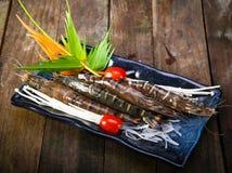 Set of fresh shrimp as an appetizer for beer Stock Image