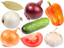 Set of fresh spicees and vegetables Royalty Free Stock Images