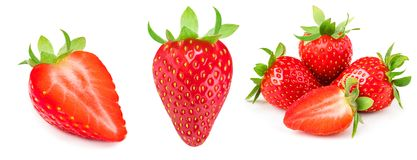 A set of fresh strawberry isolated on white background. Sweet st. Rawberry fruit Collection Royalty Free Stock Image