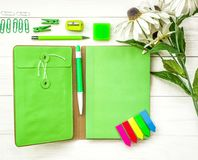 Set of fresh and stylish green stationary top view. Bright stationary: natebook, pen,pencil, eraser, sharpener, and stick notes decorated with flowers on white Royalty Free Stock Images