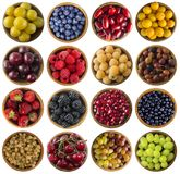 Set of fresh summer fruits and berries isolated on white. Collage of different colors fruits and berries on a white background. Top view. Various fresh summer Royalty Free Stock Photo