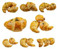 Set with fresh tasty croissants on white background stock images