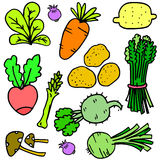 Set of fresh vegetable doodles Stock Photography