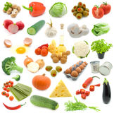Set of fresh vegetables. Over white background. assortment vegetables. (broccoli, cheese, egg, nut, paprika, salat, tomato, cauliflower, onion, parsley Stock Image