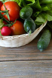 Set of fresh vegetables in a basket Royalty Free Stock Images