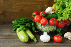 Set of fresh vegetables in a basket Royalty Free Stock Photography