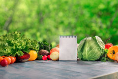 Set of fresh vegetables with blank notepad on wooden table Stock Image