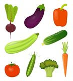 Set of fresh vegetables, bright and colorful, isolated on white. Beets, carrots, zucchini, eggplant, broccoli, sweet pepper, royalty free stock image
