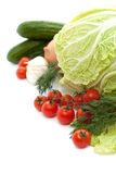 Set fresh vegetables with green leaf isolated Stock Image