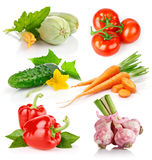 Set fresh vegetables with green leaves Royalty Free Stock Photo