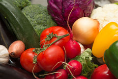 Set of fresh vegetables and herbs. Selective focus. Shallow dept Royalty Free Stock Images