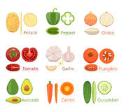 Set Of Fresh Vegetables Icon Stock Images