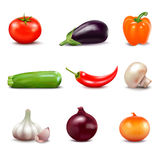 Set Of Fresh Vegetables Icons Stock Images