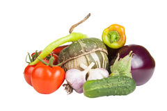 Set of fresh vegetables isolated on white background Stock Images