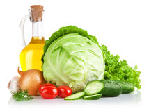 Set fresh vegetables with olive oil Royalty Free Stock Image