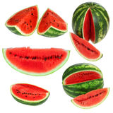 Set fresh watermelon and slices Stock Photos