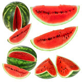 Set fresh watermelon and slices Royalty Free Stock Photos