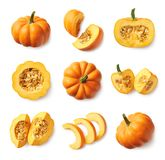 Set of fresh whole and sliced pumpkin royalty free stock photo