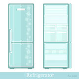 Set of fridge empty with open doors and close doors. flat modern style  Royalty Free Stock Photography