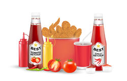 Set  of fried chicken tomato chilli suace bottle on a white background. A set  of fried chicken tomato chilli suace bottle on a white background Stock Photography